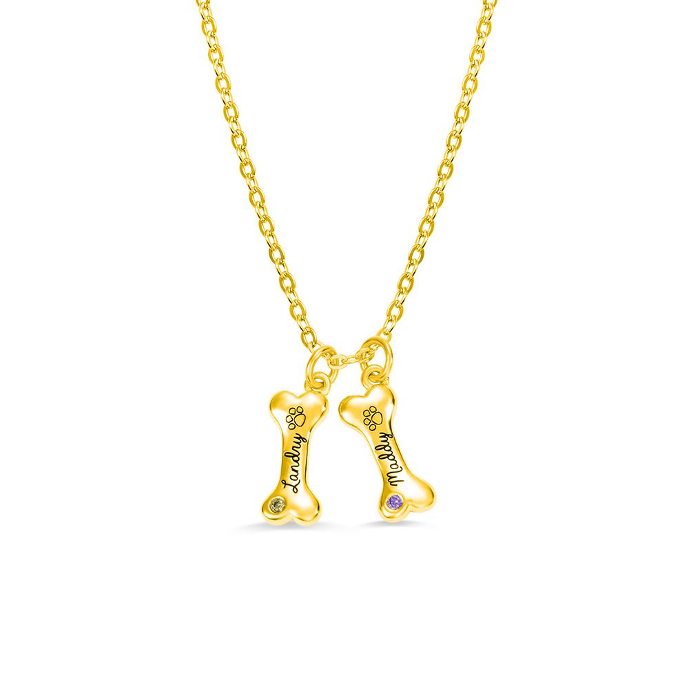 Customized Exquisite Name Dog Bone Necklace