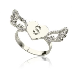 Heart Angel Wings Ring Engraved Initial & Birthstone Sterling Silver