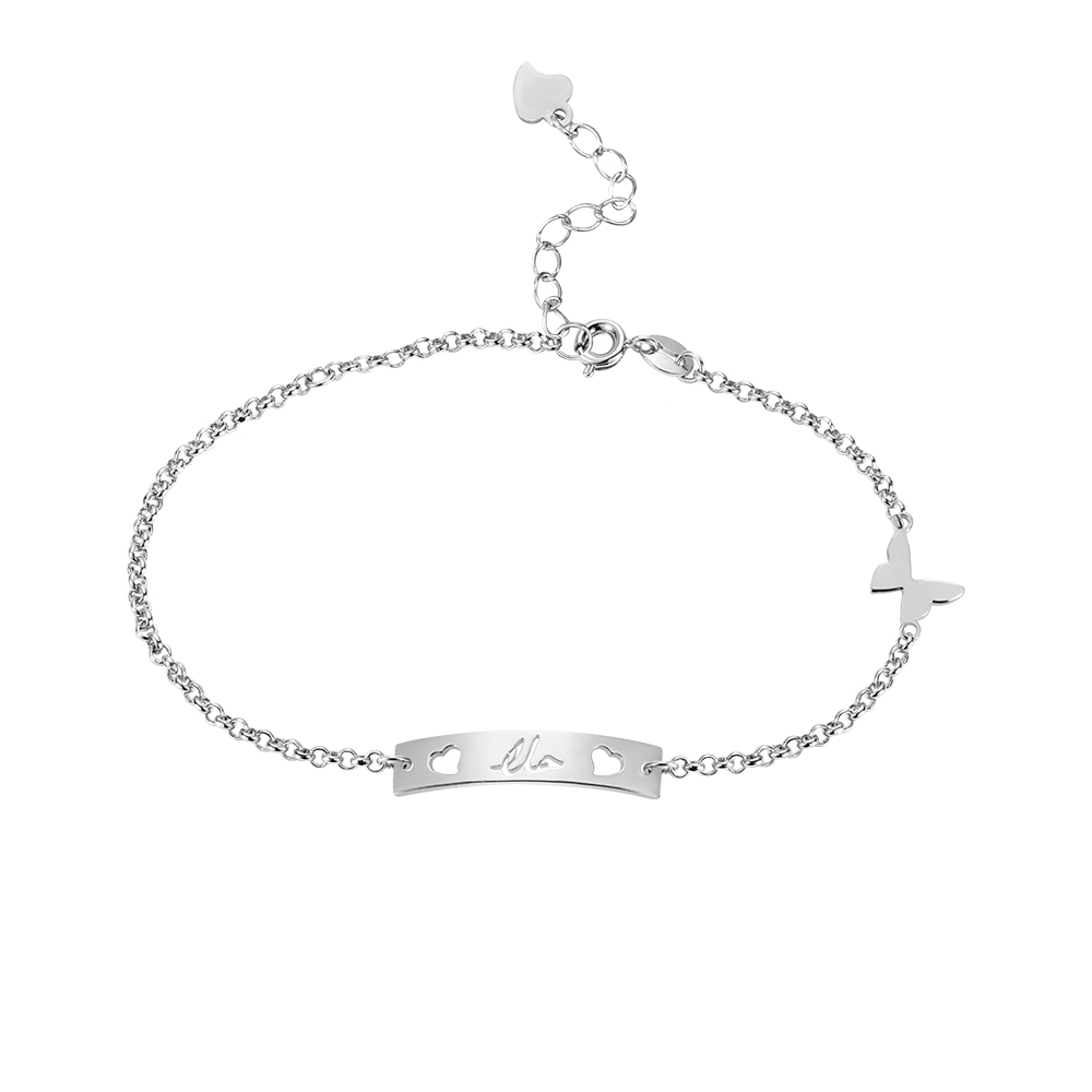 Personalized Name Bar Bracelet with Butterfly in Silver (Upload Picture)