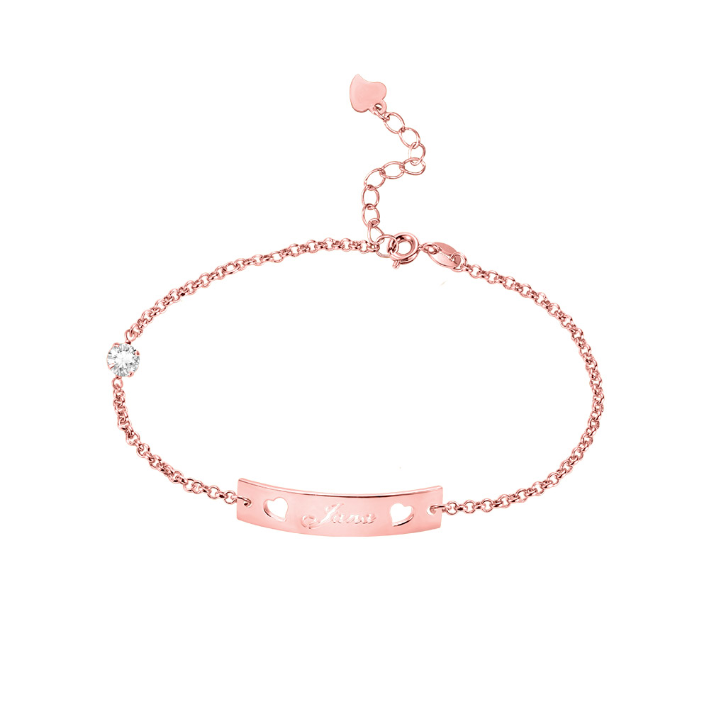 Personalized Name Bar Bracelet with Birthstone in Silver (Upload Picture)