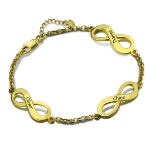 Personalized Triple Infinity Name Bracelet Gold Plated Silver