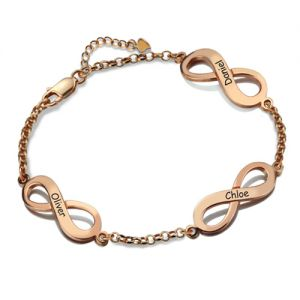 Personalized Triple Infinity Name Bracelet In Rose Gold
