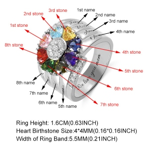 Personalized 8 Heart Birthstone Ring in Sterling Silver