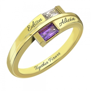 Custom Engraved Two Birthstones Ring in Gold Promise Jewelry Gift for Her