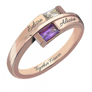 Custom Engraved Two Birthstones Ring Sterling Silver Promise Jewelry Gift for Her