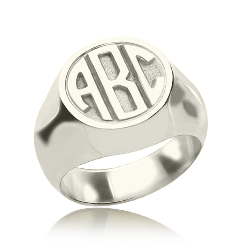 Personalized Signet Ring with Block Monogram Sterling Silver