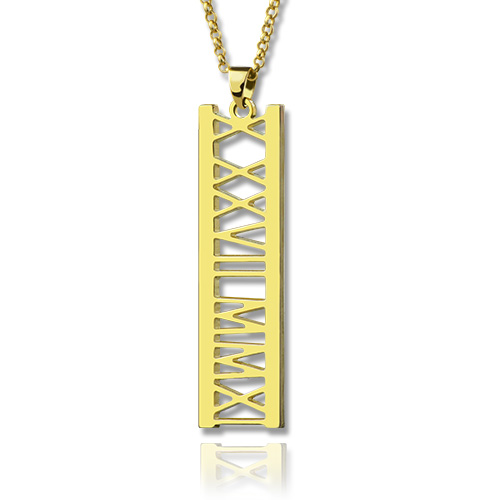 Vetical Roman Bar Necklace 18K Gold Plated