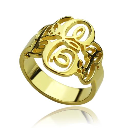 Interlocking Three Initials Monogram Ring 18K Gold Plated