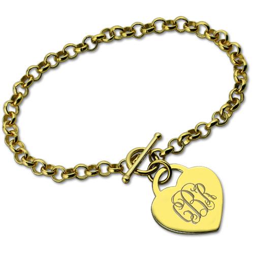 Heart Monogram Initial Charm Bracelets In Gold
