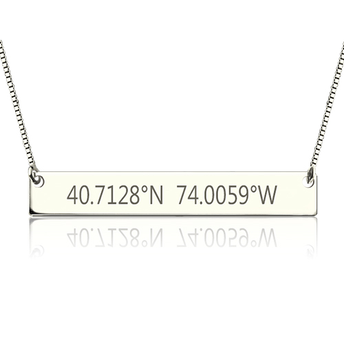 Engraved Coordinates Bar Necklace Sterling Silver