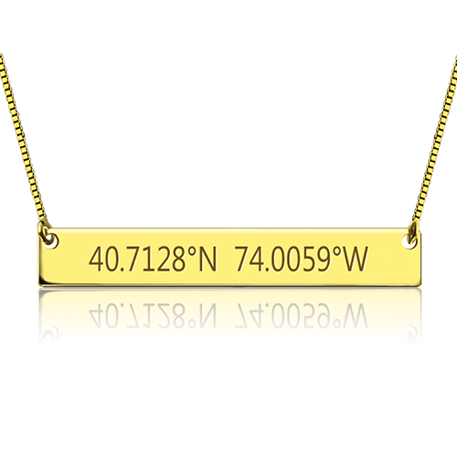 Engraved Coordinates Bar Necklace Gold Plated Silver