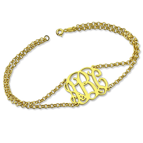 Personalized Double Chain Monogram Bracelet 18K Gold Plated
