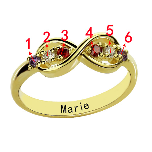 18K Gold Plated Infinity Promise Rings with Birthstone