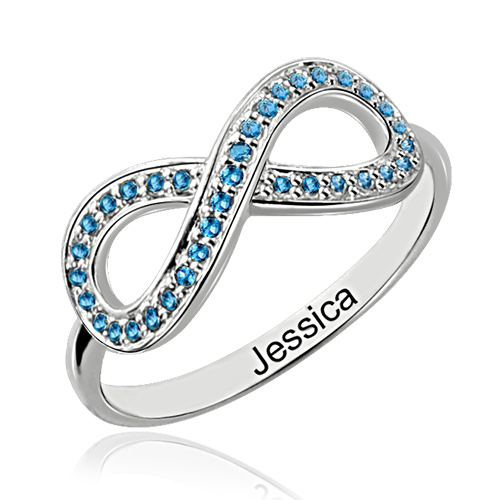 Full Birthstone Infinity Promise Ring Sterling Silver