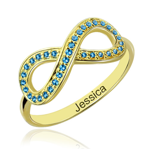 Full Birthstone Infinity Promise Ring Gift 18K Gold Plated