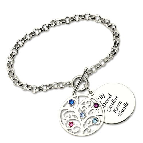 Personalized Birthstone Nana Bracelet Sterling Silver