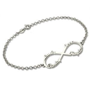Personalized Stainless Steel Infinity Four Names Bracelet