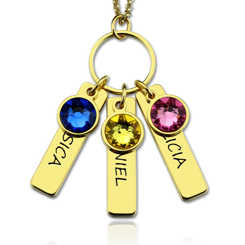 Engraved 3 Kids Bar Gold Necklace with Birthstones for Mothers