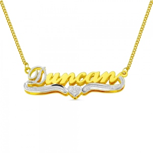 Double Plate Name Necklace in Gold