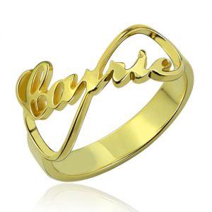 Custom Infinity Name Ring 18k Gold Plated