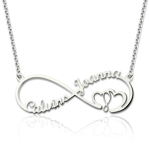 Infinity Heart In Heart 2 Names Necklace Stainless Steel-Upload