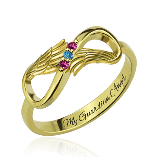 Angel Wings Infinity Ring with Birthstones Gold Plated Silver