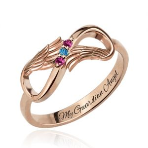 Angel Wings Infinity Ring with Birthstones In Rose Gold