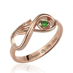 Angel Wing Infinity Heart Birthstone Engraved Ring Rose Gold