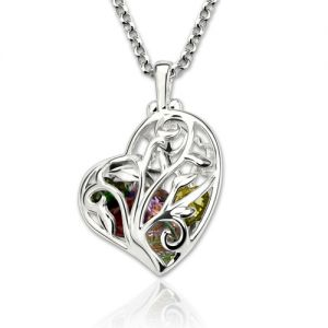 Heart Cage Family Tree Necklace With Birthstones Platinum Plated