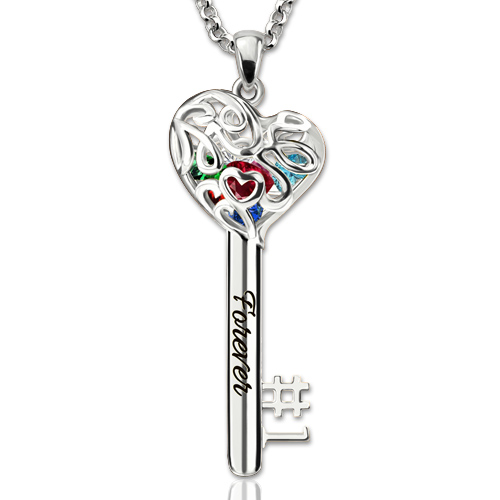 No.1 Mom Heart Cage Key Name Necklace With Birthstones