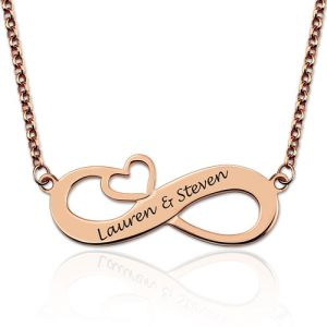 Engraved Names Infinity Heart Necklace In Rose Gold