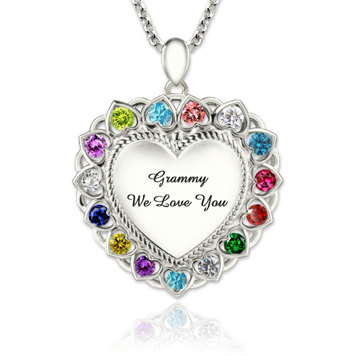 Grandma Heart Necklace With Birthstones Platinum Plated