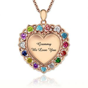 Heart Necklace With Birthstones Grandma Necklace In Rose Gold
