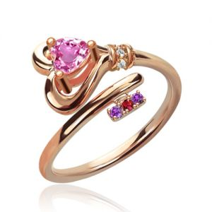 Key To Heart Ring With Birthstones In Rose Gold