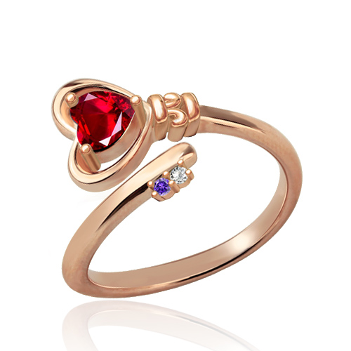 Key to Her Heart Ring with Birthstones In Rose Gold