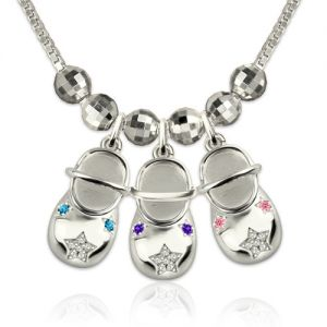Engraved Baby Shoe Charms Necklace with Birthstones