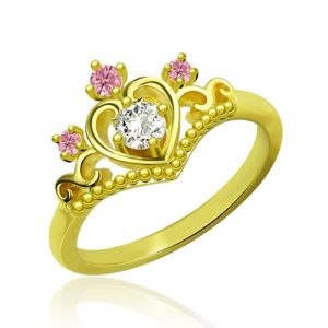 Princess Tiara Heart Ring With Birthstones Gold Plated