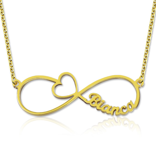Infinity Name Necklace With Arrow Heart Gold Plated