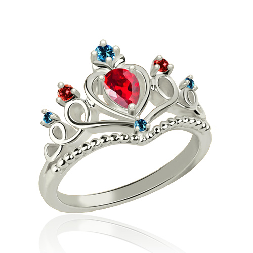 Beautiful Tiara Birthstone Ring Platinum Plated