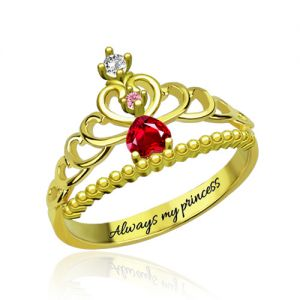 Fairytale Princess Tiara Birthstone Engraved Ring Gold Plated