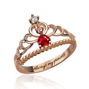 Fairytale Princess Tiara Birthstone Ring In Rose Gold