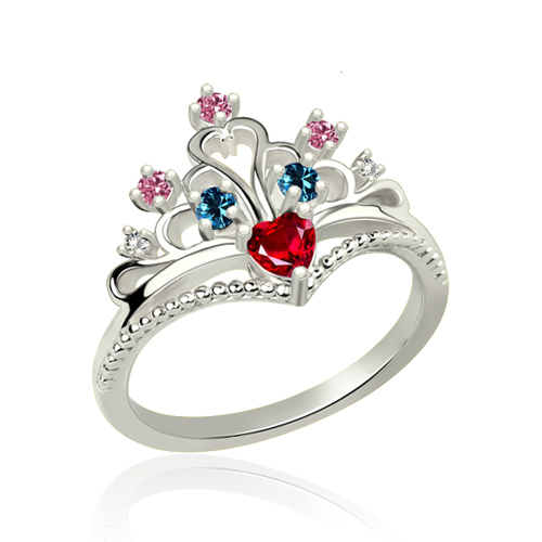 Multi-Stone Princess Crown Ring Platinum Plated