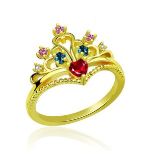 Brilliant Multi-Stone Princess Crown Ring Gold Plated