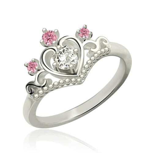 Princess Tiara Ring With Birthstone Platinum Plated