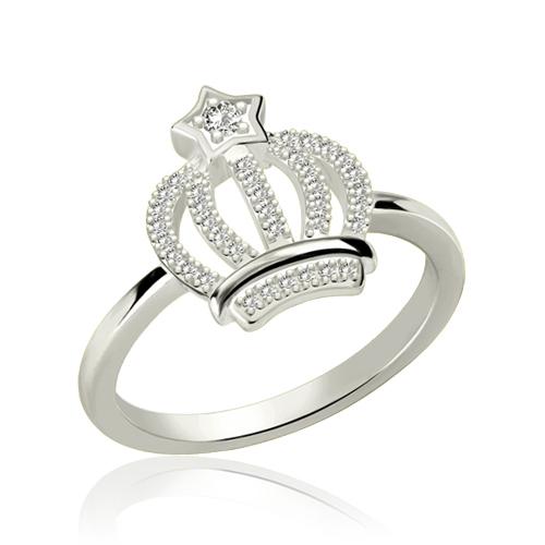 Sparkle Birthstone Crown Ring Platinum Plated Silver
