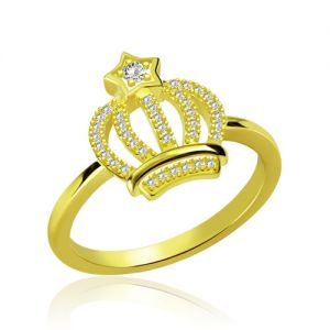 Sparkle Birthstone Exquisite Crown Ring Gold Plated