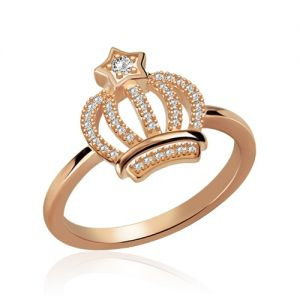 Sparkle Star-shaped Birthstone Crown Ring In Rose Gold