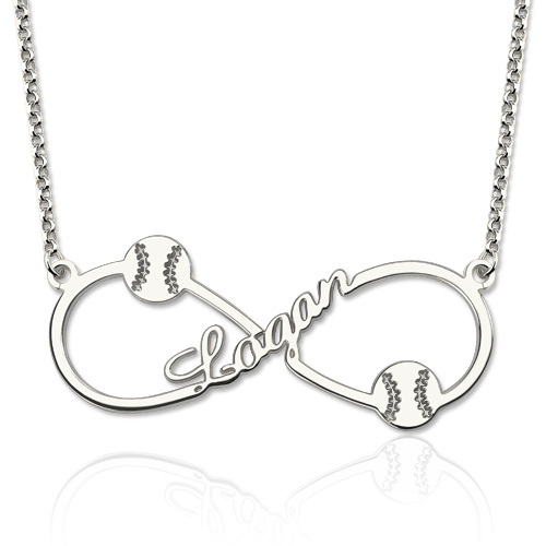 Infinity Baseball Name Necklace Sterling Silver