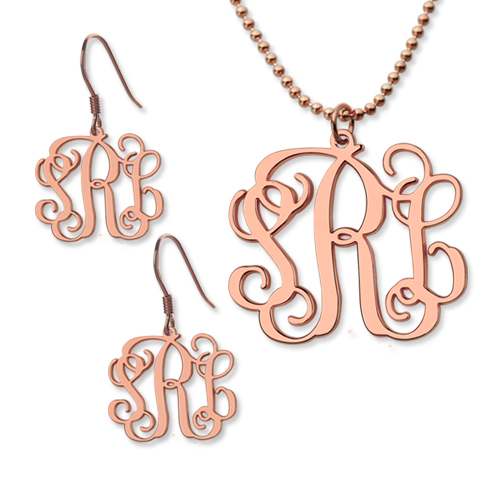 Customized Small Monogram Necklace & Earrings Set In Rose Gold