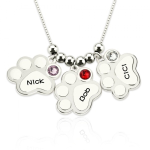 Multiple Paw Print Name Necklace with Birthstones Sterling Silver